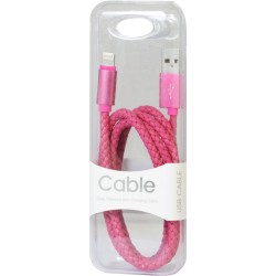 Câble iPhone 5/6 cuir tressé rose MOXIE