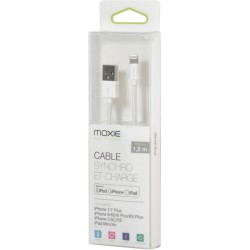 Câble lightning MFI iPhone 5 à 10 1,2m blanc MOXIE