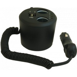 Adaptateur gobelet 2 all-cigare + 2 USB noir HTC MOVE